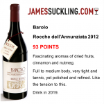 93 points from James Suckling for Barolo Rocche dell'Annunziata 2012