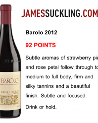 Barolo 2012 – 92 punti da James Suckling