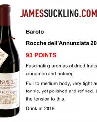 Barolo Rocche dell'Annunziata 2012 – 93 punti da James Suckling